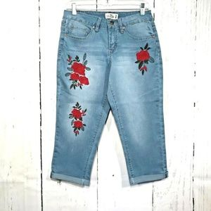 Royalty For Me Emdroidered Roses Blue Cropped Jean